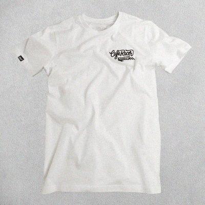 Camiseta Cafe Racer Pasión Blanca Logo Bordado Negro