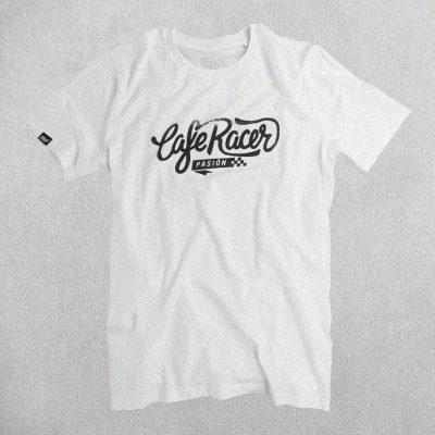 Camiseta Cafe Racer Pasión Blanca Logo Grande Negro