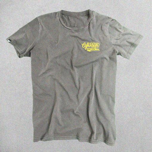 Camiseta Cafe Racer Pasión Gris Logo Bordado Amarillo