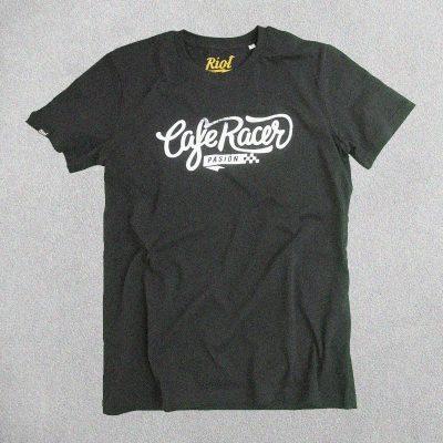 Camiseta Cafe Racer Pasión Negra Logo Grande Blanco