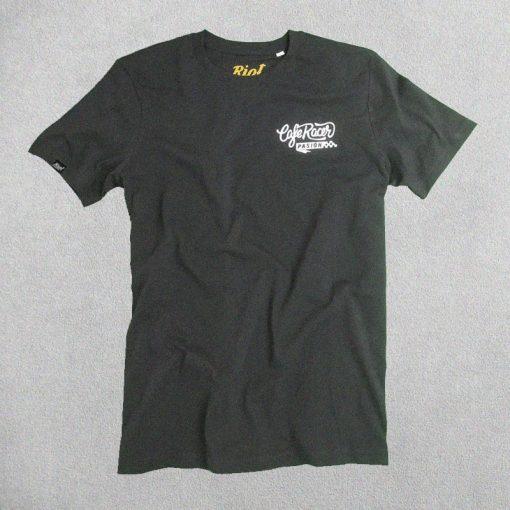 Camiseta Cafe Racer Pasión Negra Logo Bordado Blanco