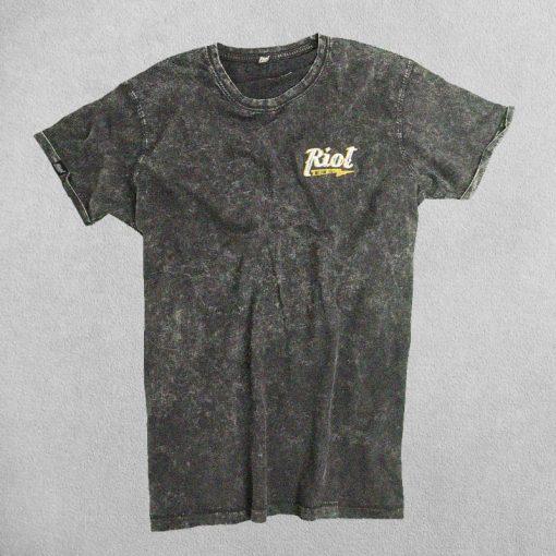 Camiseta Riot Motor Co. Gris Desgastado Logo Bordado Blanco
